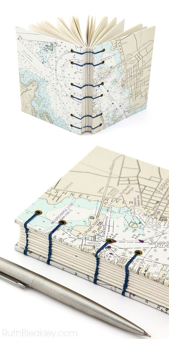 Fairhaven Connecticut Map #Journal   made with Nautical Charts - #bookbinding by Ruth Bleakley