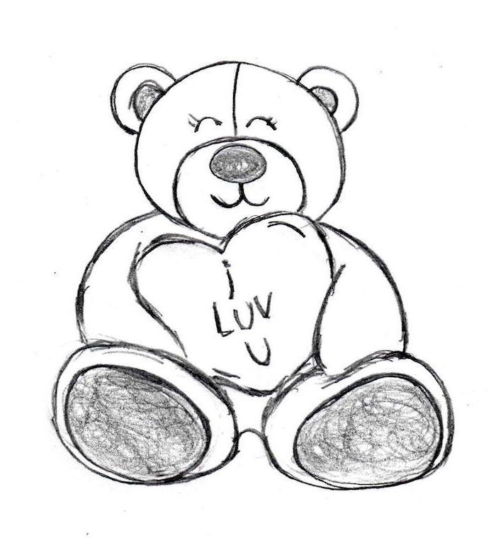 1001 + tutos et idées pour réaliser un dessin d amour mignon Valentines day drawing Teddy