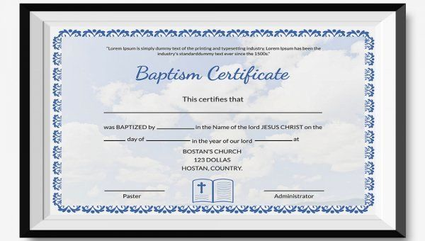 20 Free Baptism Certificate Template In 2020 With Images