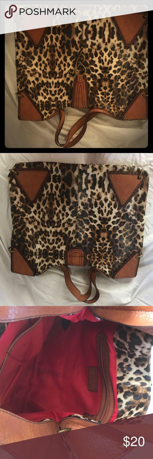 Jessica Simpson Handbag Jessica Simpson Leather Leopard Handbag W 18 x H 14 Jessica Simpson Bags Shoulder Bags