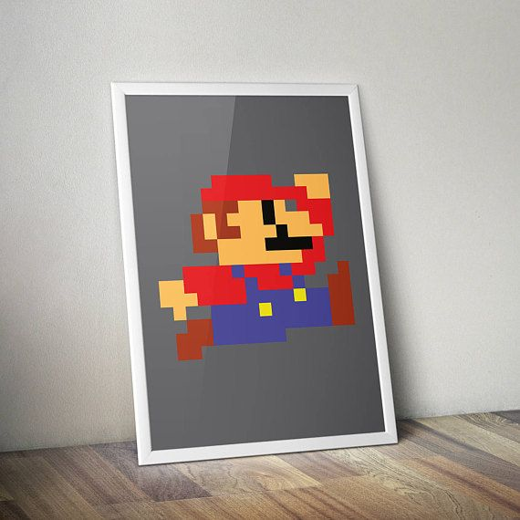 Retro Mario Poster Print - A2 Size | Digital Download | Wall Art | Video Game Art | Minimalist