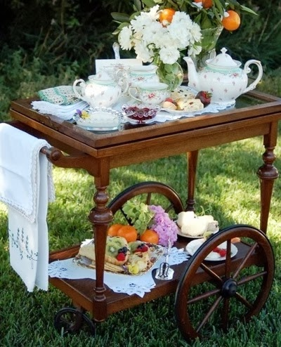 Tea trolley, perfect for a Spring tea party wedding