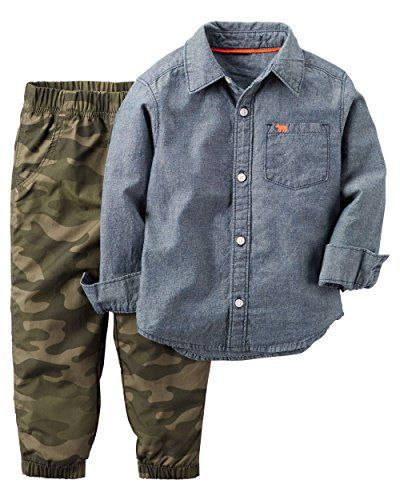 Carter's Baby Boys 2 Piece Playwear Sets, Chambray Camo, 24 Months. For price & product info go to: https://all4babies.co.business/carters-baby-boys-2-piece-playwear-sets-chambray-camo-24-months/