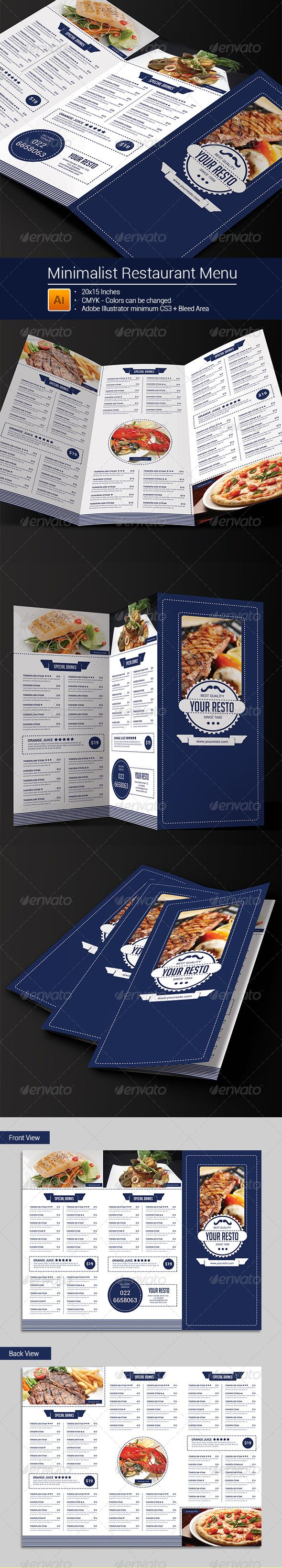 Minimalist Trifold Restaurant Menu — Vector EPS #vintage #food menu • Download ➝ https://graphicriver.net/item/minimalist-trifold-restaurant-menu-/8245216?ref=pxcr