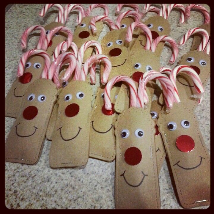 "...this made me laugh! Christmas give-away idea. Use empty toilet paper tubes instead. Might pre-staple. Kiddos would decorate reindeer face and insert candy canes (use different flavors for color). Maybe tie a ribbon around ""neck""."