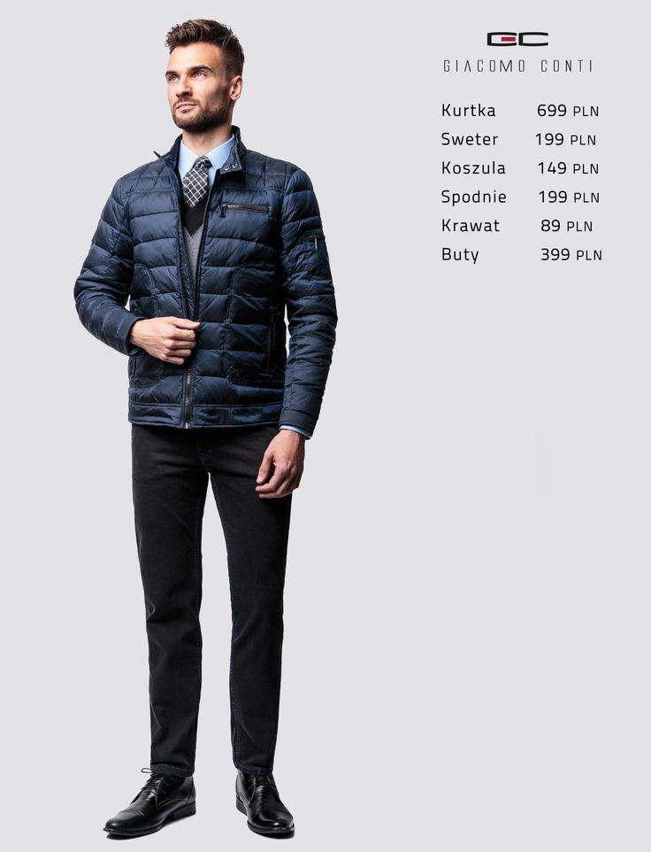 Stylizacja Giacomo Conti: pikowana kurtka zimowa Uberto 14/77 SI, sweter Nestore 14/92 SR, koszula Michele 14/06/16, spodnie Federico slim. #giacomoconti