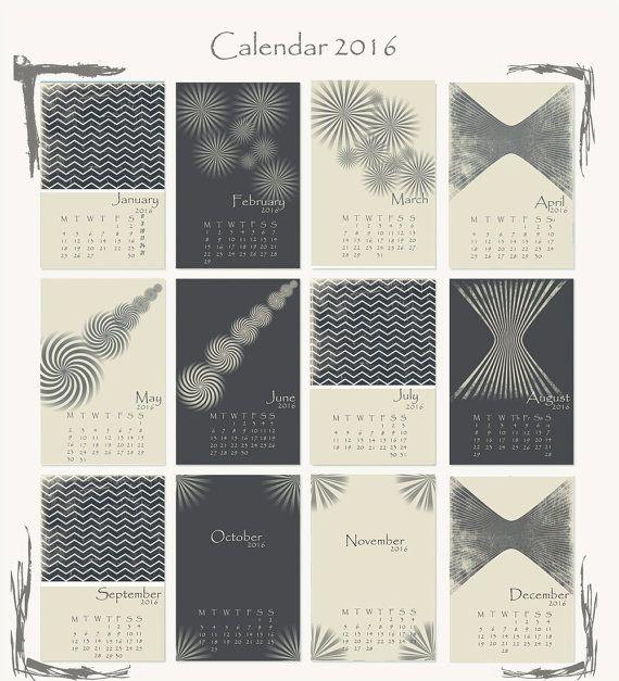 Desk calendar, 2016, Printable calendar 2016, Desk Calendar, Mini Calendar, Instant 2016 Desk Calendar, Patterned calendar, INSTANT DOWNLOAD.