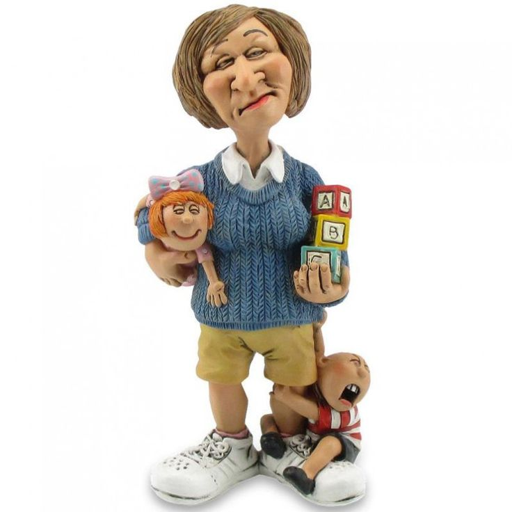 Funny jobs; beeldje gouvernante - kinderoppas, figurine nanny, figur kinderwärterin