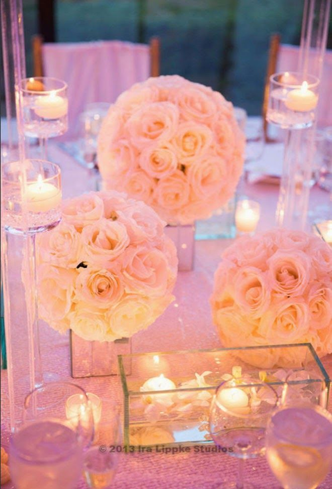 Candlelight & White Roses On Mirror Vases