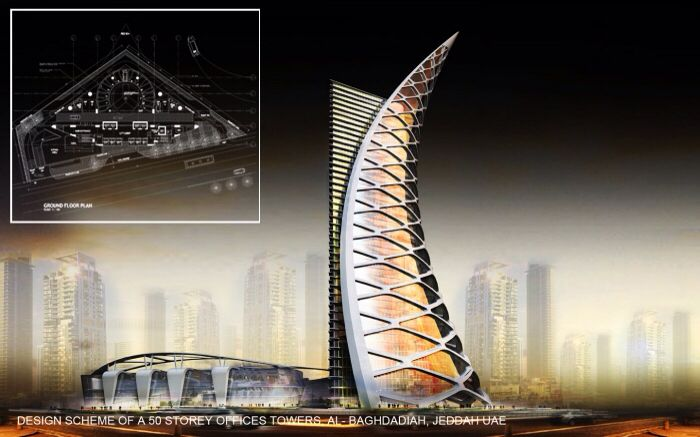 Design concept of and offices tower Al-Baghdadiah Jeddah Arab Saudi