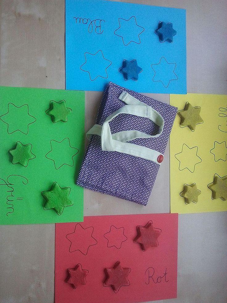 Montessori Sternen zuordnen, Salzteig gefärbt