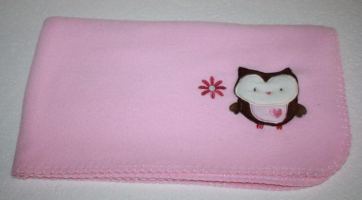 Circo BABY BLANKET Solid Pink thin Fleece Owl Corner Flower Heart Security Lovey Target #Circo