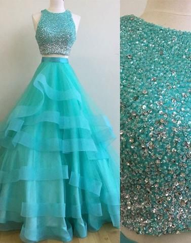 green two pieces sequin prom dresses,long evening dress,BD172712