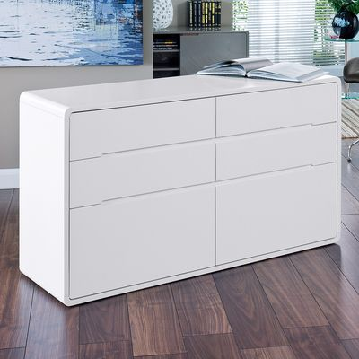 Click to zoom - Basel six drawer sideboard white