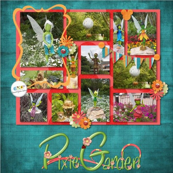 Disney Pixie Garden...beautiful grid scrapbook layout