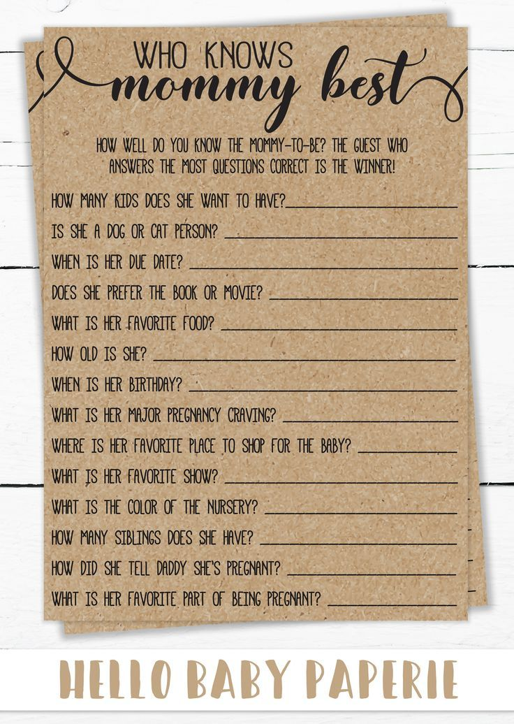Photo of Who knows, Mama's best, Mama Trivia baby shower game, baby shower games, ru …