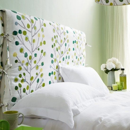 great idea to create covers for the upholstered headboard - can easily change it up as you wish, with the seasons