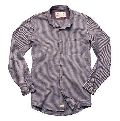Blårandig skjorta av bomull och linne