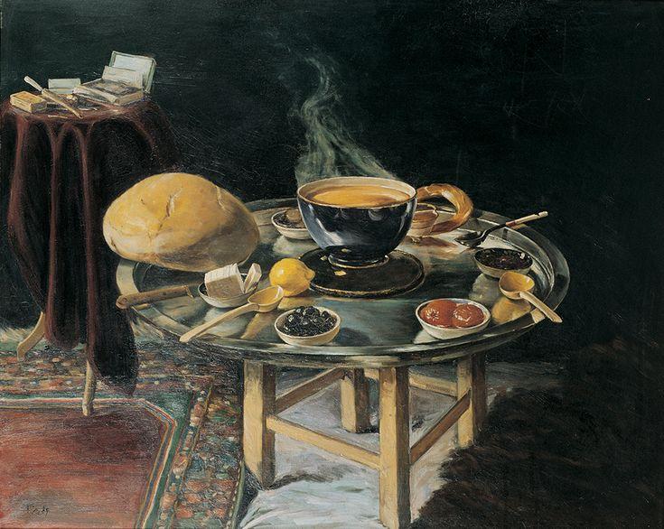 """Üsküdarlı Ali Rıza Hoca'nın """"İftar Sofrası"""" isimli yağlıboya eseri, 1919.  #üsküdarlıalirızahoca #iftarsofrası #atwork #resim #yağlıboya #art #painting #karinsanat #atwork #fineart #sanat"""