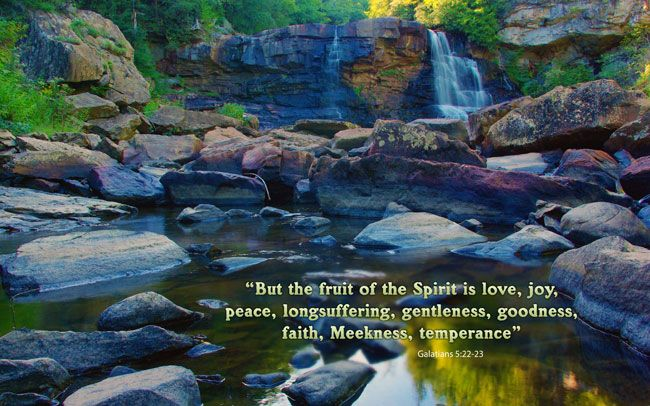 Galatians 5:22-23 - Nature and Bible Desktop Background