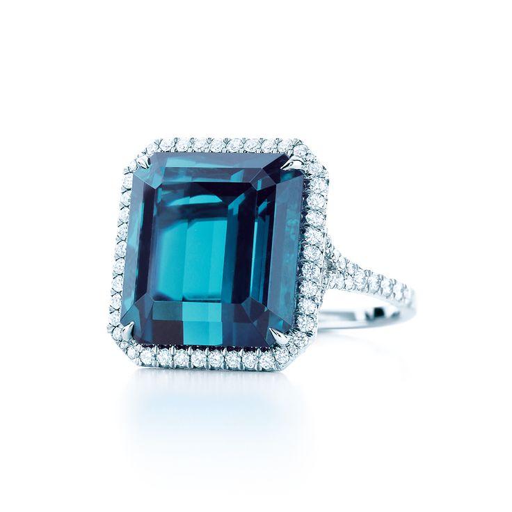»✿❤Tiffany Blue❤✿« Ring in platinum with a 12.58-carat emerald-cut blue tourmaline and diamonds. #TiffanyPinterest #TiffanyBlueBook