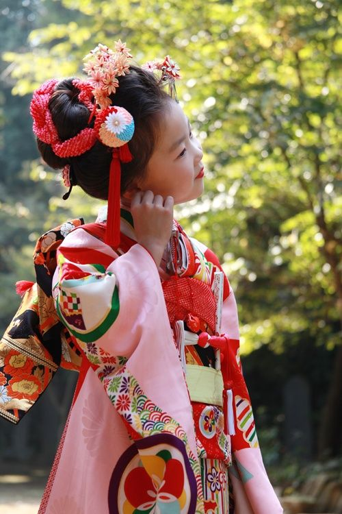 Kimono outfit for Shinto blessing ceremony.  Japan