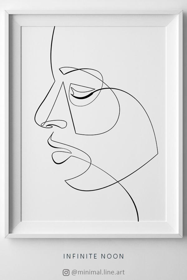 Woman One Line Face Drawing, Continuous Line Print, Face Line Art, Abstract Face Figure Print, Printable Fine Art, Female Beauty Print – Männlich