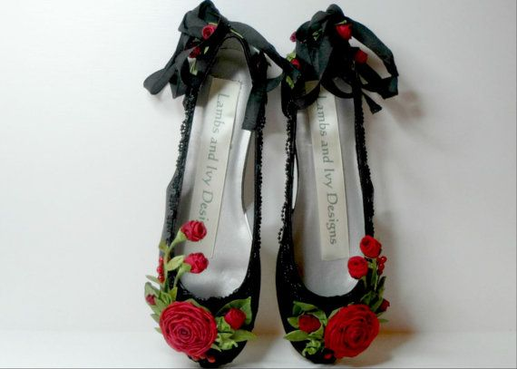 Bride's Princess Black Ballet Slippers Quinceanera Weddings Red Roses Flower Girl Dance Costume