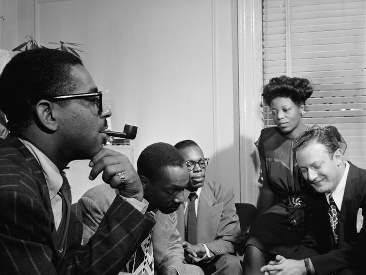 "steppingrazzor: "" Dizzy Gillespie, Tadd Dameron, Hank Jones, Mary lou Williams, Milt Orent. Ca.August 1947 """
