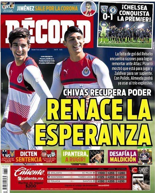 #hoyentuRÉCORD #Portada Chivas recupera poder y renace la esperanza. Almeyda contará con Pizarro y Zaldívar