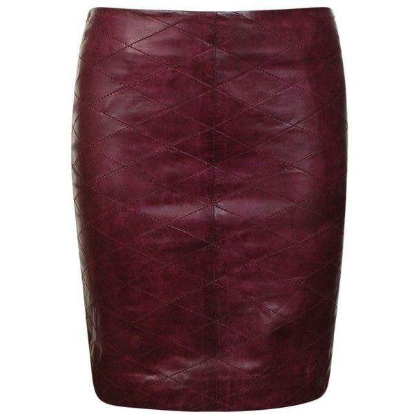 GESTUZ Leather Diamond Stitch Skirt ($125) ❤ liked on Polyvore featuring skirts, mini skirts, bottoms, saias, bordeaux, purple mini skirt, short leather skirt, zipper skirt, leather zipper skirt and purple leather skirt