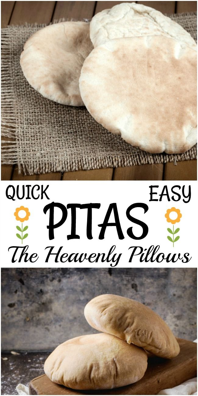 Quick and Easy Pitas make wonderful sandwiches. Their pocket can hold all sorts of favorite fillings. Homemade pitas couldn\'t be easier. Make them and you\'ll never purchase them again. #pitas, #homemade_pitas, #flatbread, #pocketbread, #how_to_make_pita_bread
