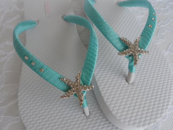 Aqua Blue Wedding infradito / nuziale perle infradito / spiaggia infradito / damigelle d