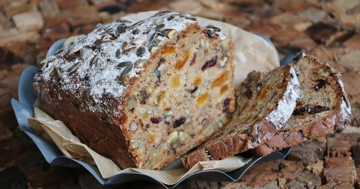 - Filmjölksbröd med frukt och nötter - bicarbonate semi wholegrain bread with buttermilk, dried fruits and nuts/seeds, - nice with good butter, cheese and marmalade