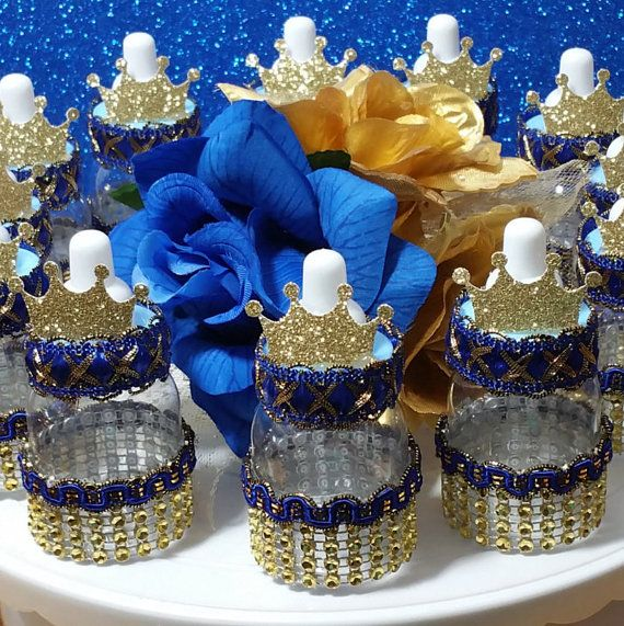 12 Royal Prince Baby Shower Favors / Boys ROYAL BLUE & GOLD Bottle Favors / Little Prince or Royal Prince Baby Shower Theme  and Decorations
