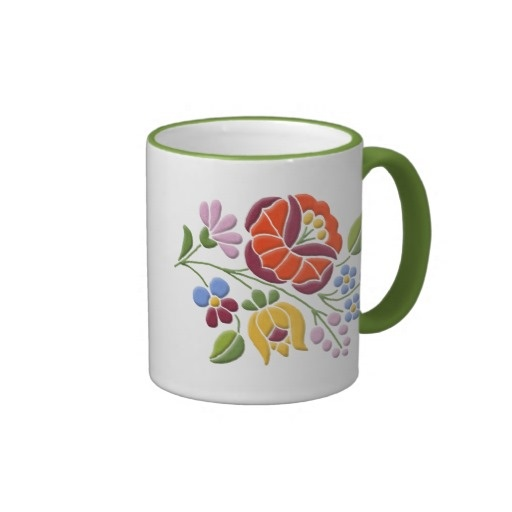 Kalocsai Embroidery - Hungarian Folk Art Ringer Coffee Mug $18.85 #Hungary #folk art #mugs #kitchen #home #decor #vintage #floral