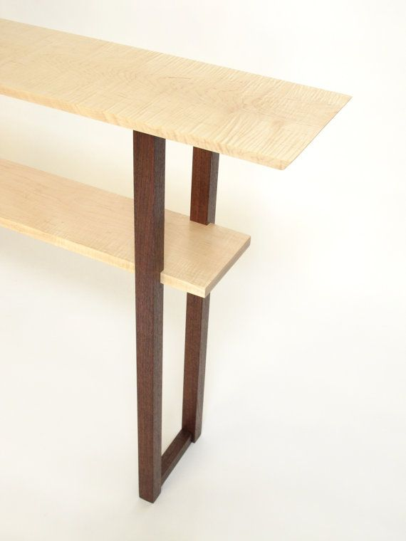 Maple and Walnut Thin Console Table: for by MokuzaiFurniture