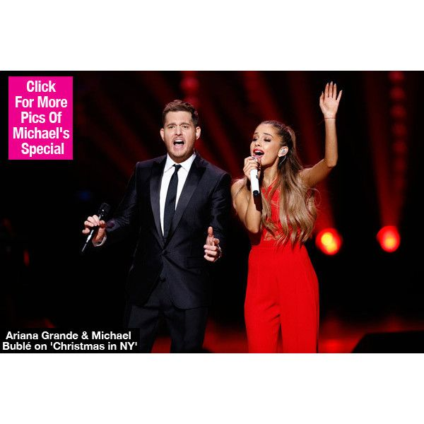 Ariana Grande Performs On Michael Bublé's 'Christmas In New York' ❤ liked on Polyvore featuring ariana grande