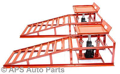 Heavy Duty Hydraulic Car Ramps 3000 lbs Garage Van Mechanic Bottle Jack Ramp New