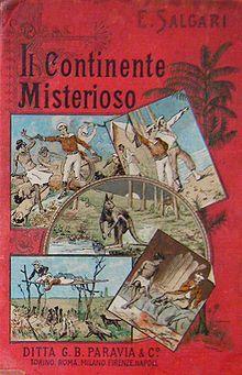"""""""Il Continente Misterioso"""" copertina illustrata di Giovanni Battista Carpanetto (1863–1928), Ed. Paravia"""
