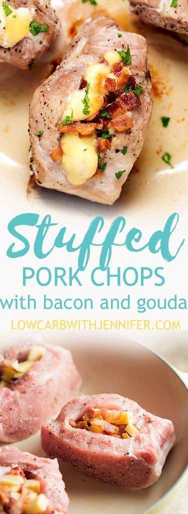 These baked pork chops are generously stuffed with crispy bacon and smoked gouda. An easy low carb dinner that will please any husband! #lowcarbdiet #ketodiet #dinnerrecipes #dinnerideas