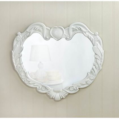 This romantic white wall mirror features a fantastic wood frame with feathery flourishes, spring blossoms, and a heart presiding over the whole design. Its the perfect finishing touch for your room!