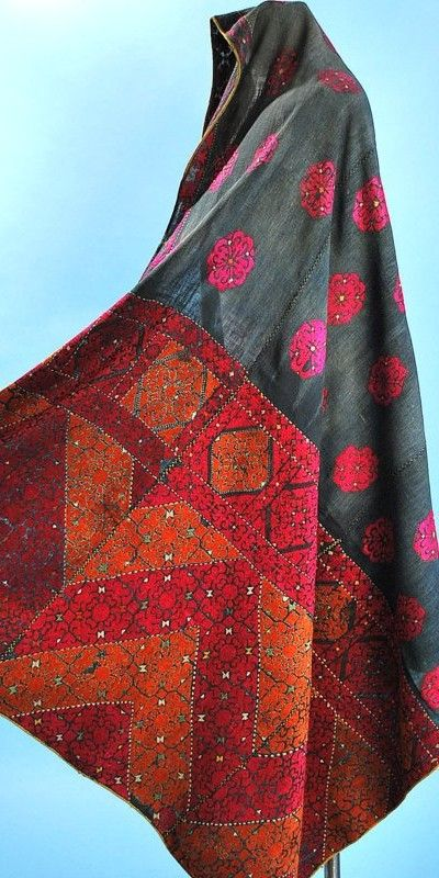 Early 20thc Swat Embroidered Phulkari Head Cloth Indigo Ground