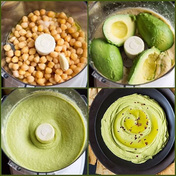 1 (15 oz) can chick peas, well drained 2 medium ripe avocados, cored and peeled (13 oz before cored and peeled) 3 Tbsp olive oil, plus more for serving if desired 1 1/2 Tbsp tahini 3 Tbsp fresh lime juice 1 clove garlic, peeled Salt and freshly ground black pepper…