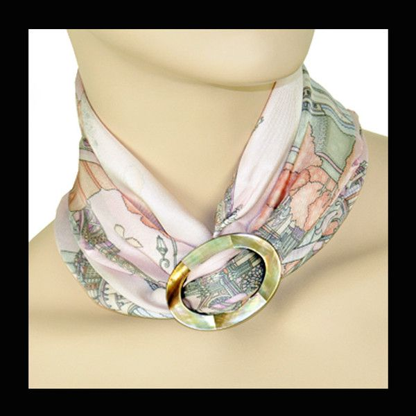50 best scarf rings and scarf pendants by anne touraine paris large scarf ring brown mother of pearl mozeypictures Choice Image
