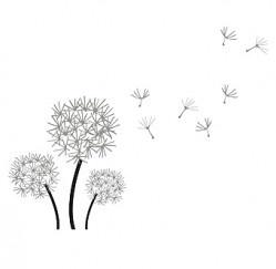 Flying dandelion wall stickers