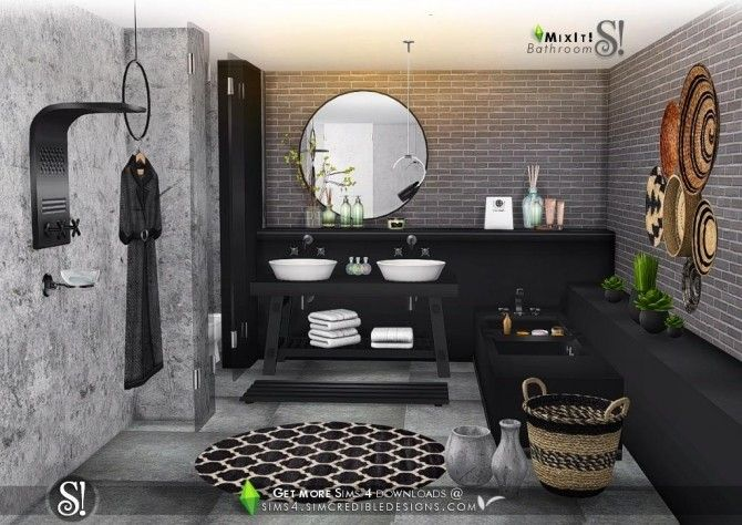 Mix It Bathroom Set By Simcredible Designs 4 For The Sims 4 Sims 4 Sims Bathroom Sets