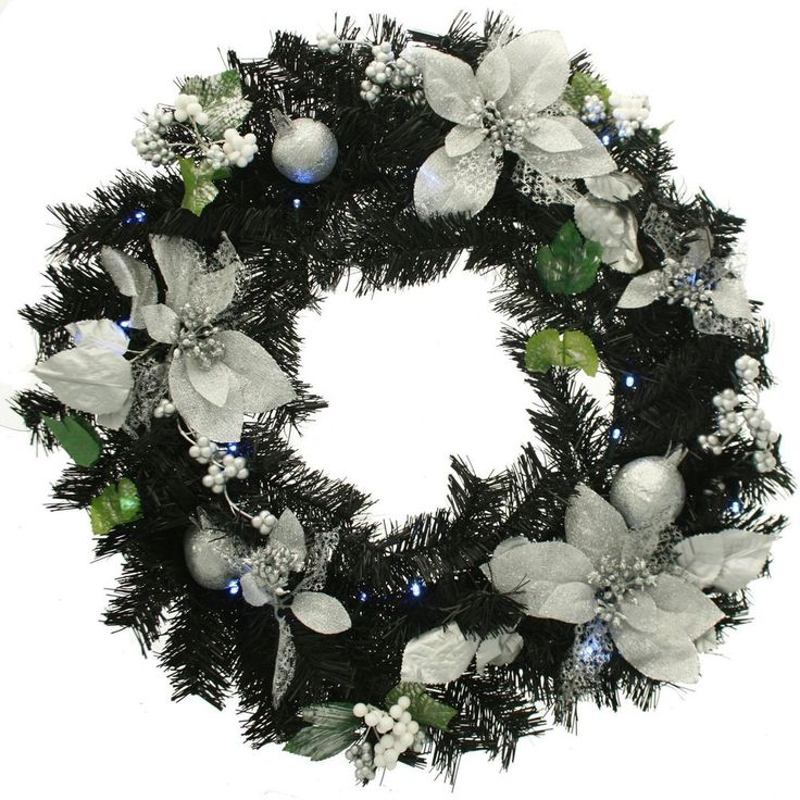 Wreath Christmas Decoration Holiday Ornament 60cm With LED Lights Black/Silver