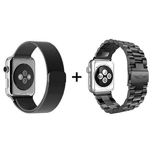 Aviato Apple Watch 42 mm Edelstahl Armband Set - Schwarz - http://on-line-kaufen.de/aviato/aviato-apple-watch-42-mm-edelstahl-armband-set
