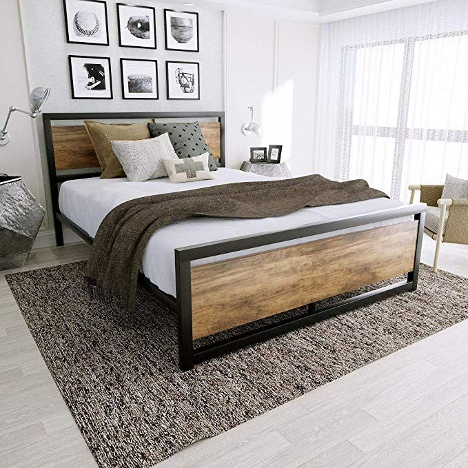Amooly Metal Wood Bed Headboard Platform Bed Frame Easy Assembly